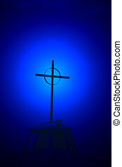 Faith 2 - Modern cross on church in New Mexico symbolizes...