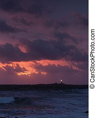 Storm - Lighthouse in stormy sunset