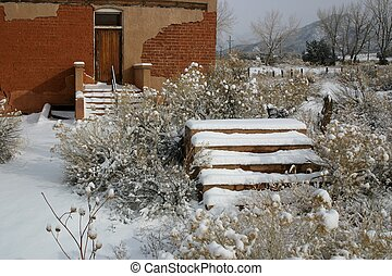 Snow Day - Vintage one-room school house made of adobe...