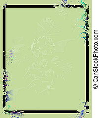 Green Embossed - embossed pinecone and border on green
