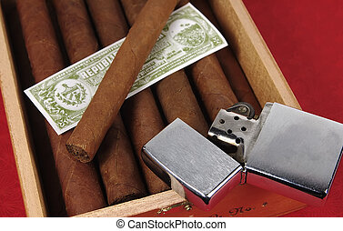 Cigars 2 - Photo of Cigars and a Lighter