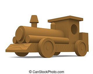 Wooden Train Engine - 3D rendering of a wooden train engine