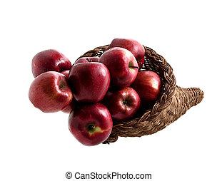 Basket of Apples 2 - Wicker horn shaped basket filled wit...