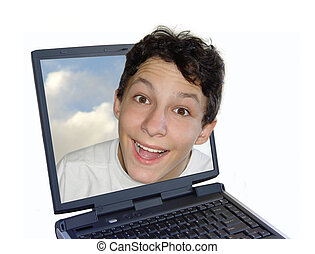 Live chat - Smiling boy getting out of the laptop