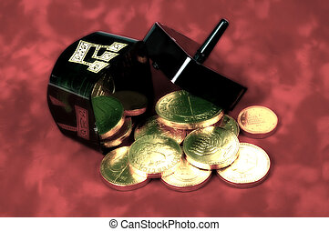 Dreidel and Gelt - Photo of a Dreidel Filled With Gelt With...