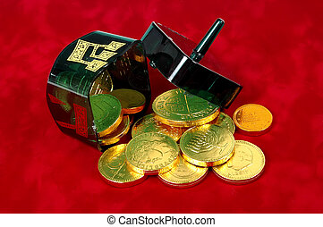 Dreidel and Gelt 2 - Photo of Dreidel and Gelt Without any...
