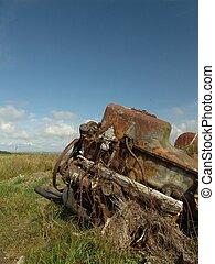 Abandoned engine - old, rusty engine