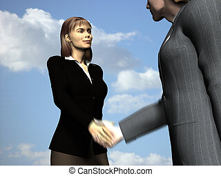 Business People - Business man and woman skake hands motion...