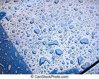 Car Wax Beads - Beaded water on a freshly waxed Car hood