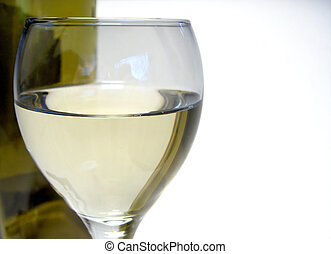 Glass of Wine - MAcro of white wine meniscus in a glass