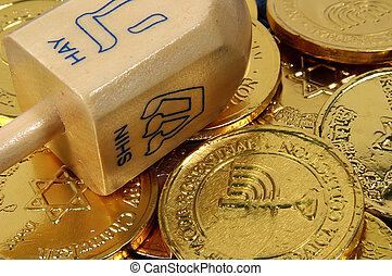 Dreidel and Gelt - Photo of Dreidel and Gelt Chocolate Coins...