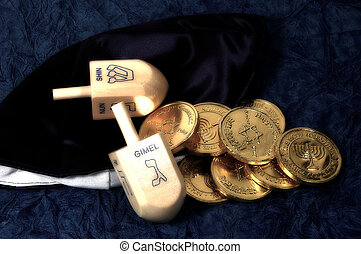 Dreidel and Gelt 2 - Photo of a Dreidel and Gelt With Color...