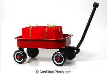 Gift Wagon - Photo of a Red Wagon With Gifts.