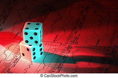 Investment Gamble - Photo of Dice and Stock Charts With Gel...