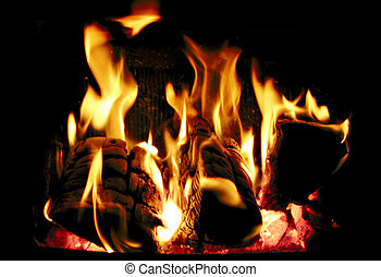 Burning wood - Wood burning inside a fireplace