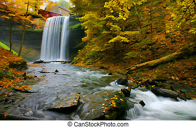 Waterfall DigArt - Digital art of the Morningstar Mills at...