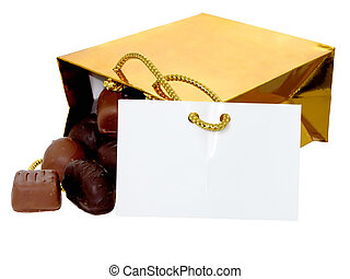 Bag of Chocolates - Gold bag of chocolate candies with a...
