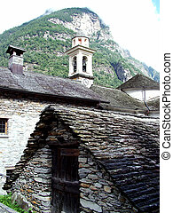 verzasca - Digital photo of a little village with the name...