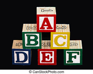 Alphabet Blocks - Kids alphabet blocks a-f on black
