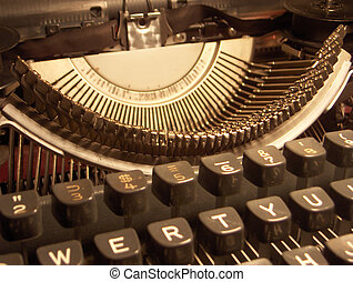 Typewriter - Close up detail of a portable typewriter,...