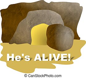 Hes Alive - The empty tomb of Jesus Easter illustration...
