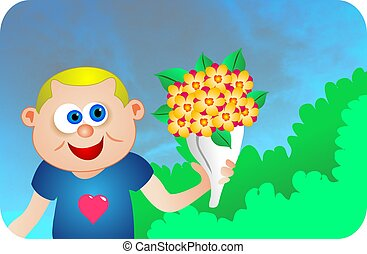 Say it with Flowers - Cute boy giving flowers illustration.