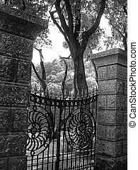 Garden Gate - Cast iron gate leading to a large garden