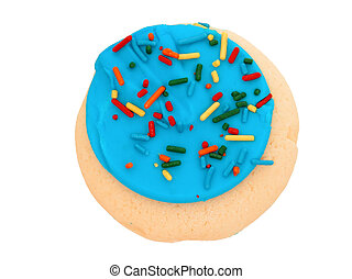 Blue Iced Cookie - Sugar cookie with blue icing and...