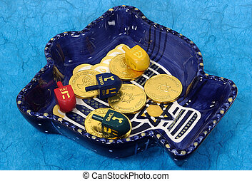 Chanukah Bowl 3 - Photo of a Chanukah Bowl With Dreidels and...