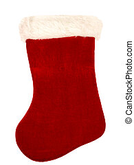 Christmas Stocking - Red and white christmas stocking on...