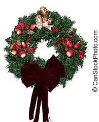 Christmas Wreath Red Velvet Bow