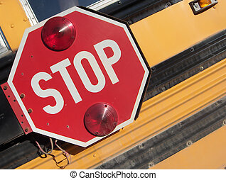 STOP - School bust traffic stop sign, composed off kilter