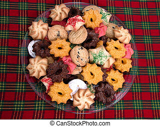 Plate of Cookies - Plate of assorted cookies on a christmas...