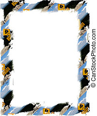 Caution Sign - Road sign caution frame around white
