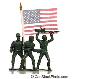US Army - Green army men holding a US Flag on white with...