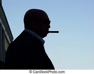 Almost Hitchcock - silhouette of a mafia man