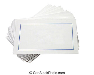 Blank Cards - Large blank cards fanned and stacked