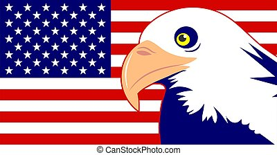 Eagle Flag - Bald eagle and American flag design.