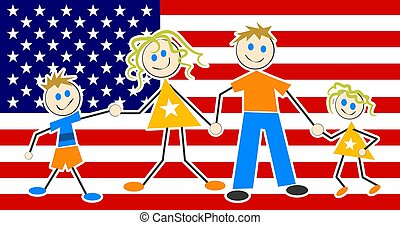Patriotic Family - Patriotic family illustration.