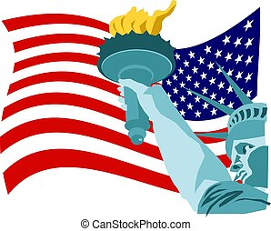 Liberty Flag - Statue of liberty and American flag design.