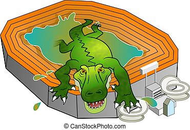 Gator Stadium - Alligator climbing out from the swamp which...
