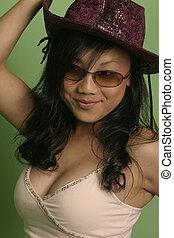 Modern Cowgirl - Fresh model wearing a purple fashion...