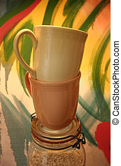 Cups - Coffee cups and colorful art background that I...