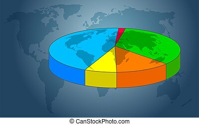 Pie Chart - Pie chart with world map illustration.