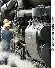 Railroad Workers - Railroad workers fixing a problem with...