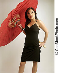Khristine Red 3 - Khristine in black dress with red...
