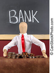 Banking - Photo of a Mannequin With Money Simulating a Bank...