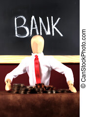 Bank Teller - Photo of a Mannequin and Money Simulating a...