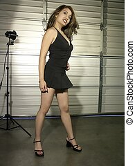Angel Black 1 - Angel in a black dress full 34 view