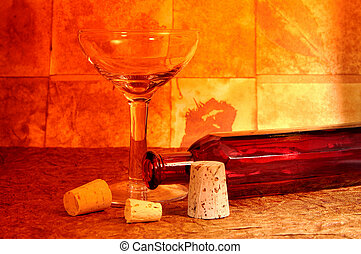 Wine Glass - Photo of a Wine Glass, Bottle and Corks With...